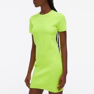 Helmut Lang Ribbed Bodycon Short Sleeve Mini Dress in Neon Yellow size m/medium